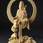 ▲[水月観音]本格木彫仏像(座 総高21.5cm)