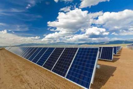 Blue sky over solar panels